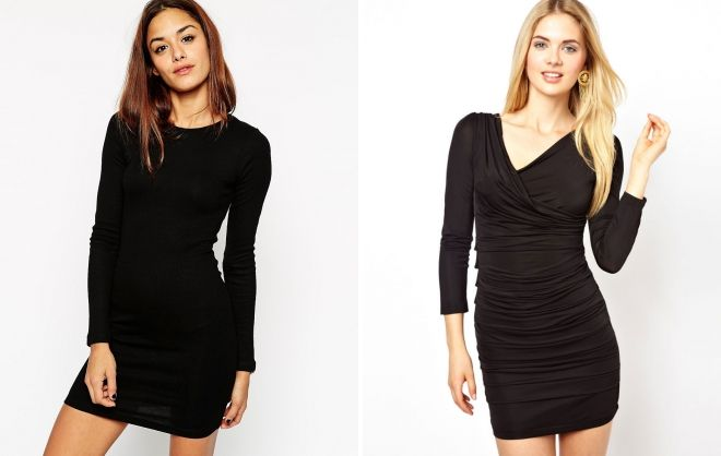 черное обтягивающее короткое платье