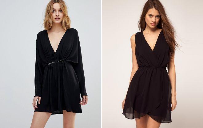 короткое черное шифоновое платье