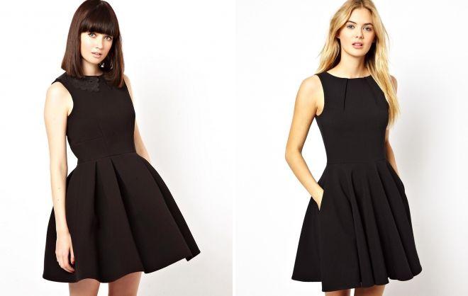 черное короткое расклешенное платье