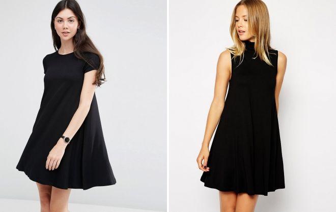 короткое свободное черное платье