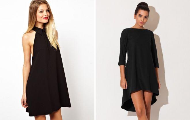 короткое черное платье трапеция