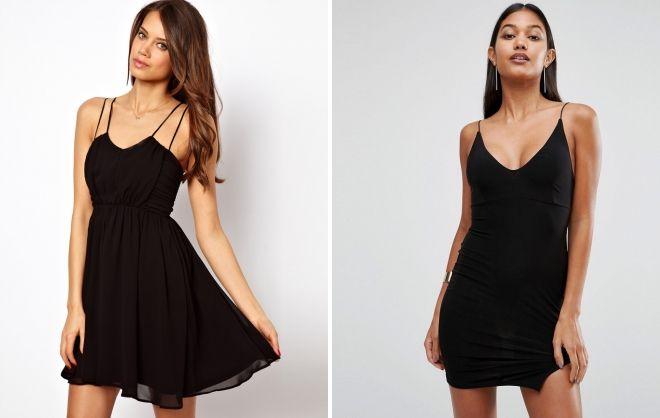 короткое черное платье на бретельках