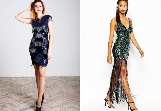 платье с пайетками и бахромой