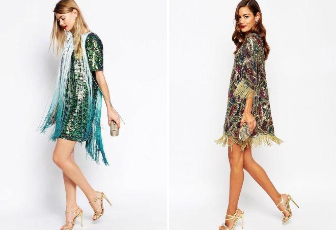 блестящее платье с бахромой