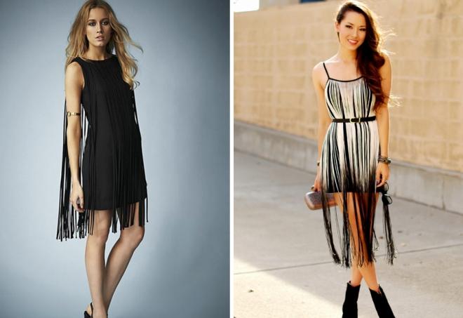 модные платья с бахромой