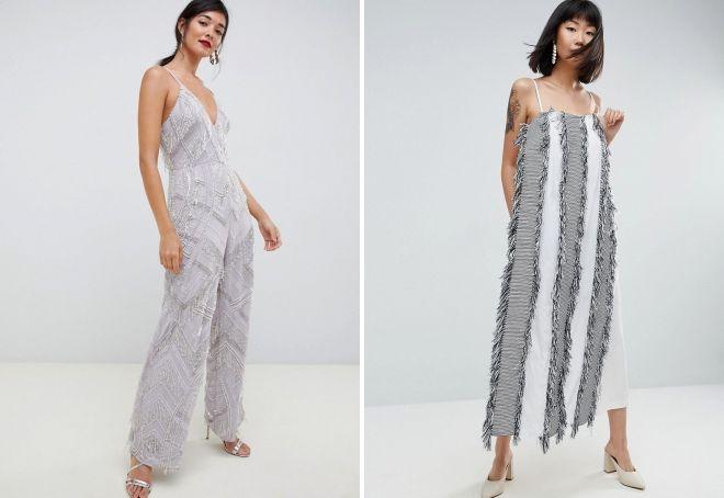 платье комбинезон с бахромой