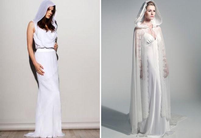 прямое свадебное платье с капюшоном