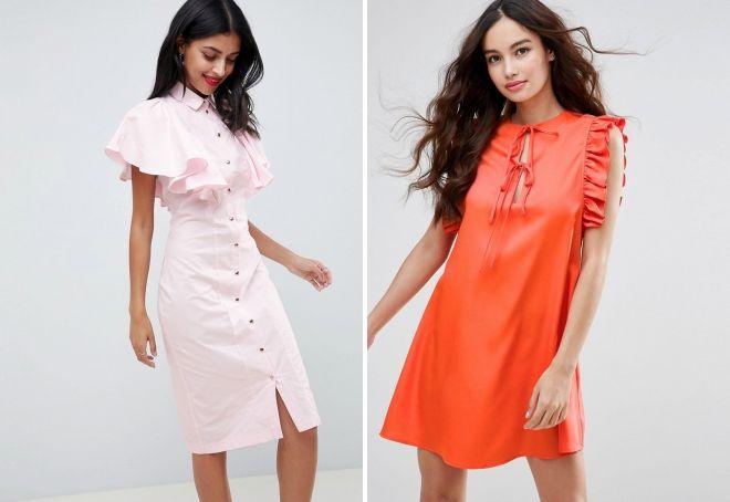платье с рукавами воланами