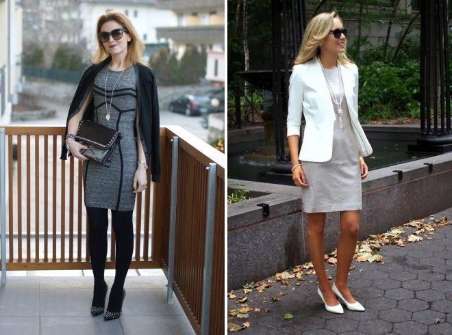 images à la mode avec une robe grise