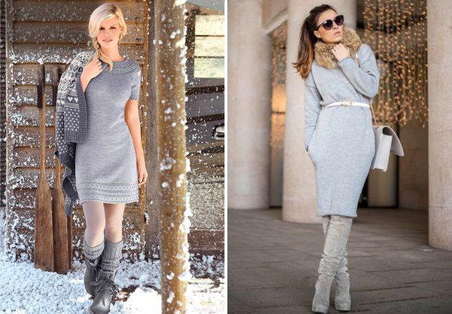 quoi porter avec une robe en maille grise
