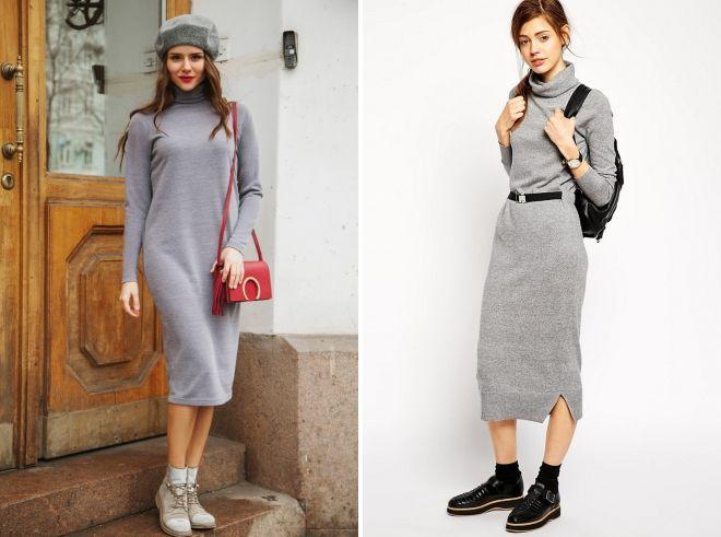 quoi porter avec une robe en tricot gris