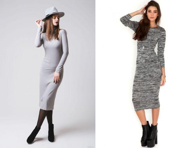 серое платье лапша с чем носить