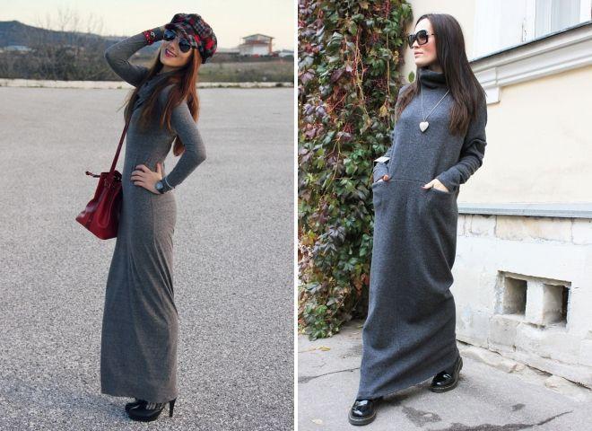 с чем носить серое длинное платье