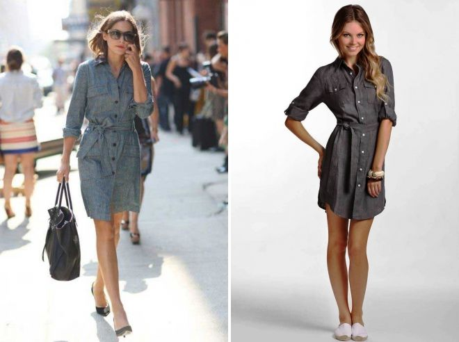 серое платье рубашка с чем носить