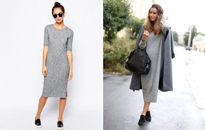 quoi porter avec une robe droite grise