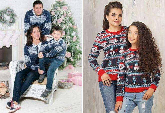 новогодние свитера фэмили лук