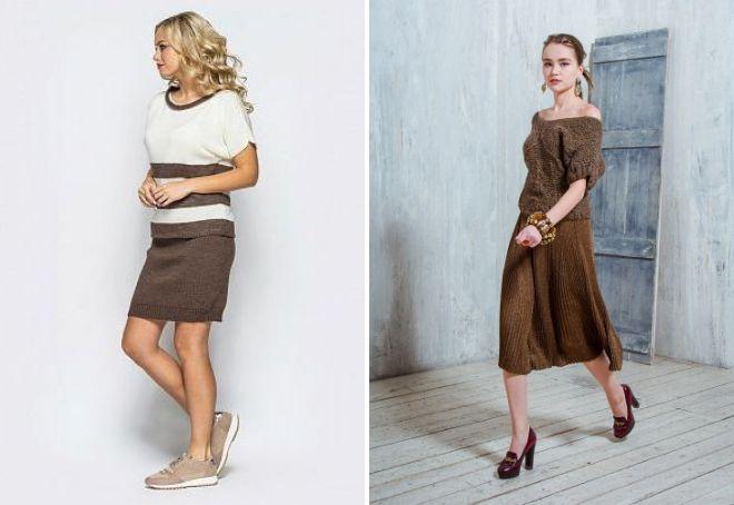brunt strikket nederdel