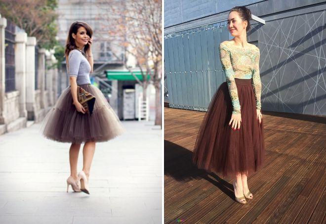 brun tule nederdel