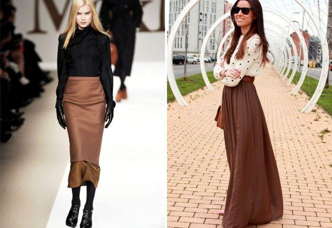 lang brun nederdel med hvad man skal bære