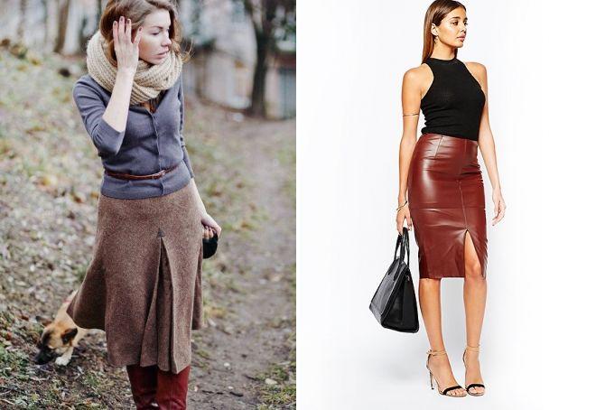 Hvad er kombinationen af brun nederdel