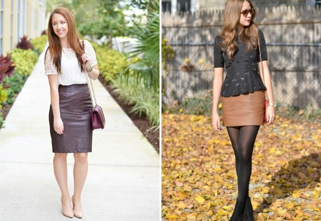 brunt læder nederdel