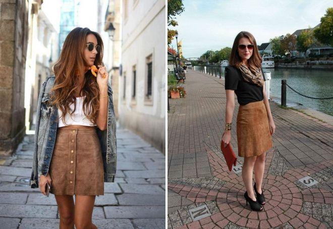 brun ruskind nederdel