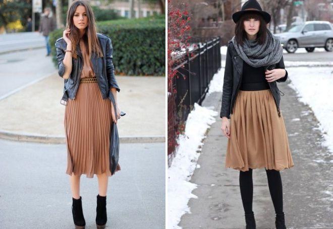 brunt plettet nederdel
