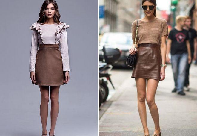 brun nederdel A-linje