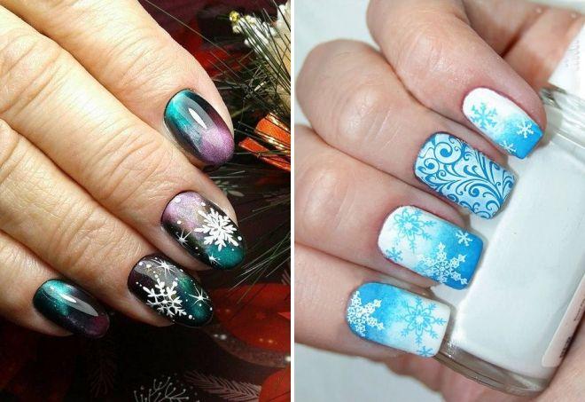 Natal 2019 manicure dengan kepingan salju