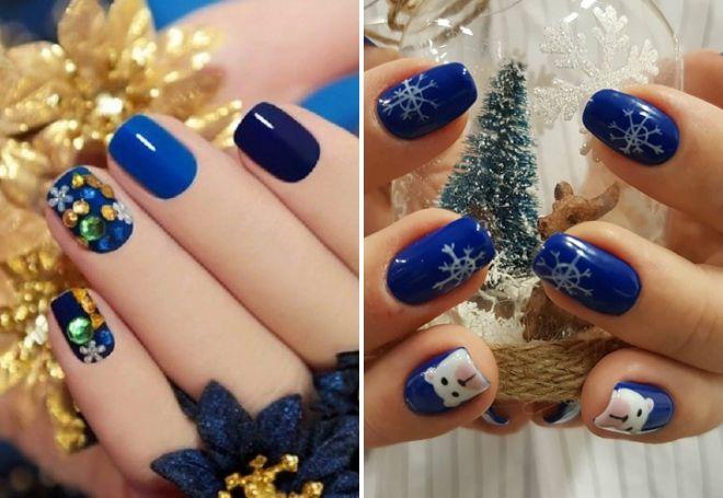 Blaue 2019-Maniküre für das neue Jahr