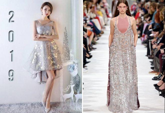 kjole til det nye år 2019 med paljetter