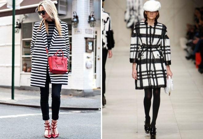 с чем носить черно-белое пальто