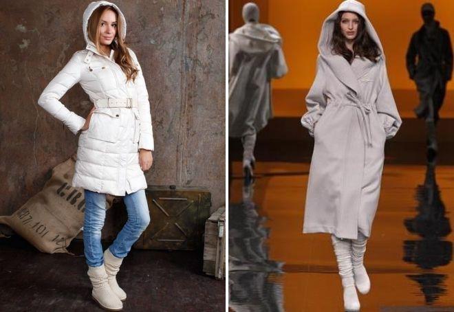 с чем носить белое пальто с капюшоном