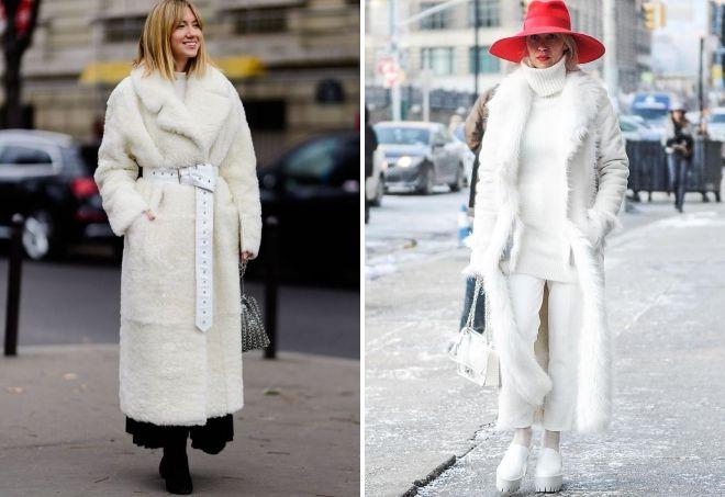 с чем носить белое меховое пальто