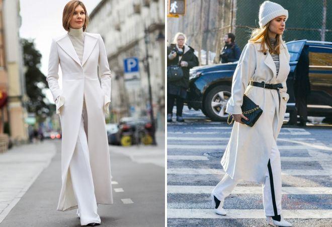 с чем носить длинное белое пальто