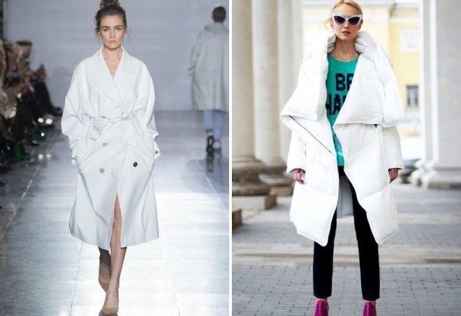 с чем носить белое пальто оверсайз