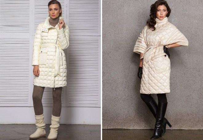 с чем носить белое стеганое пальто