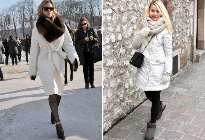 с чем носить зимнее белое пальто