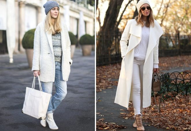 с чем носить белое демисезонное пальто