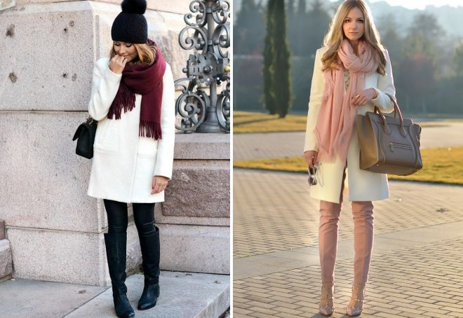 с чем носить женское белое пальто