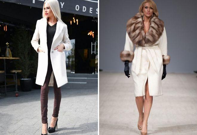 معطف الكشمير الأبيض