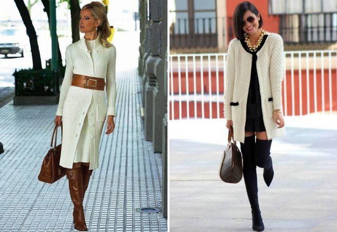 с чем носить белое вязаное пальто