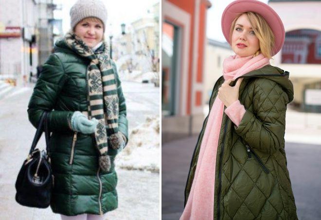 Schal zu grünen Daunenjacke