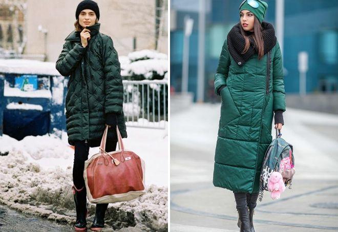 Tasche zur grünen Daunenjacke