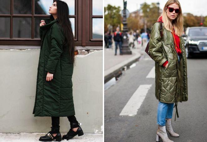 was mit langer grüner daunenjacke zu tragen