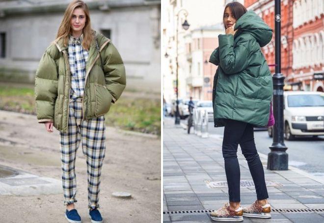 Was Sie mit der grünen Daunenjacke in Übergröße tragen können