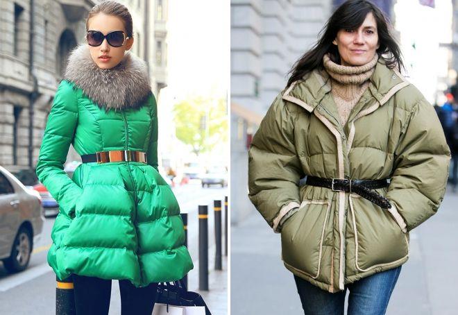 Was kann man zu einer grünen Daunenjacke mit Gürtel tragen?