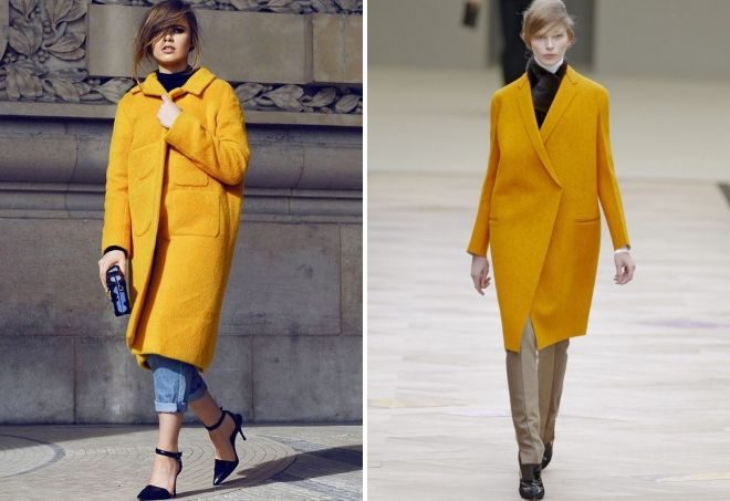 yellow cocoon coat