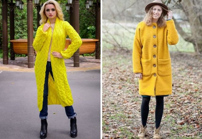 yellow knitted coat
