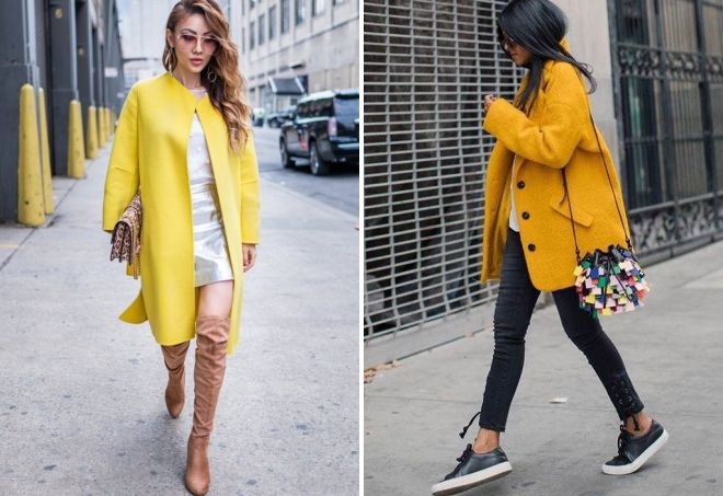 shoes to yellow coat